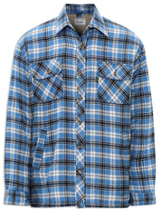pennine fleece lined winter shirt in blue