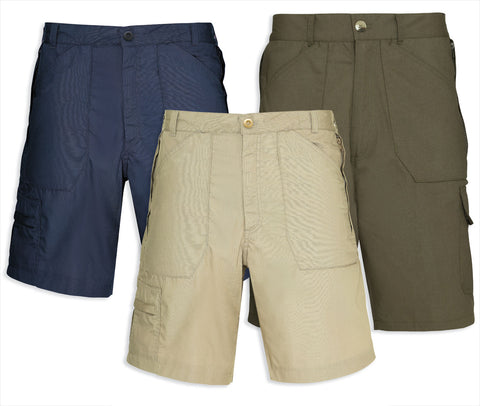 champion bretton shorts in three colours navy olive and stone