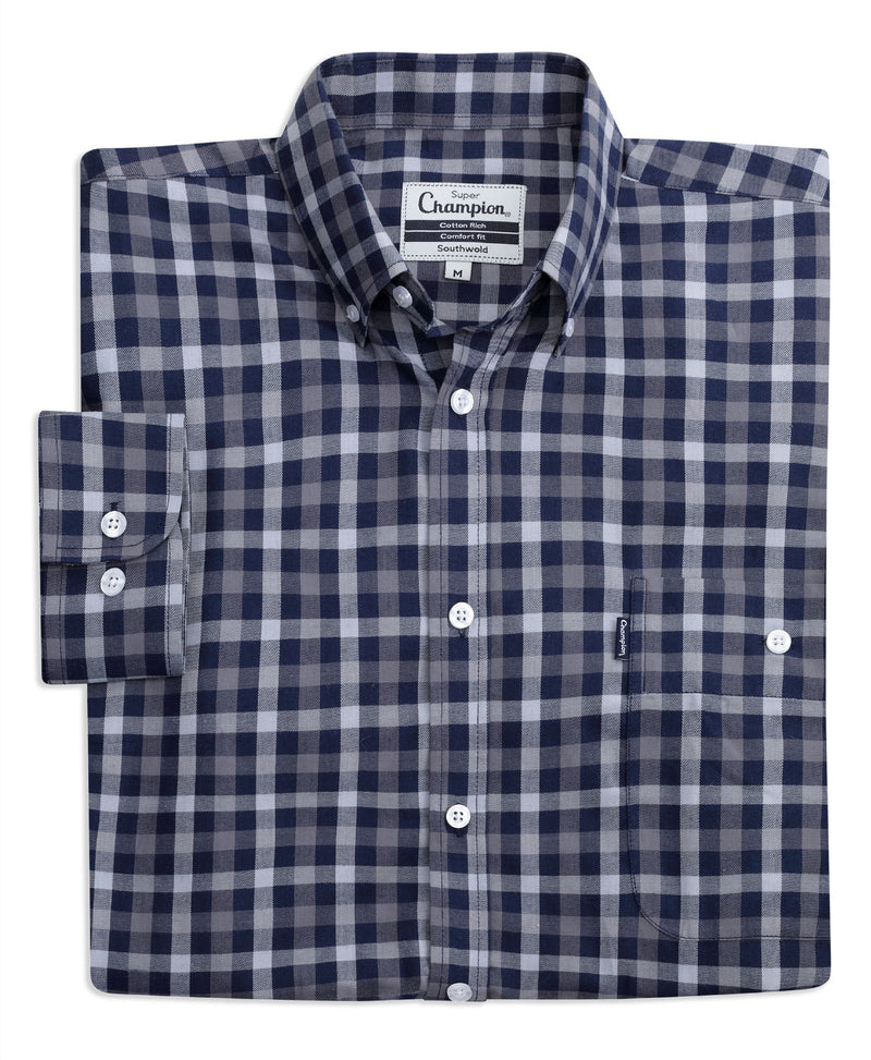 Navy check Button down collar check shirt
