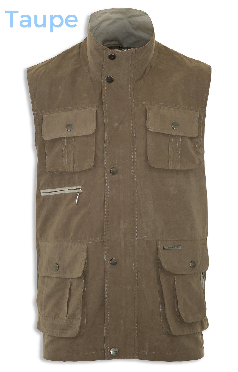 taupe zipped and flapped pocket waistcoat