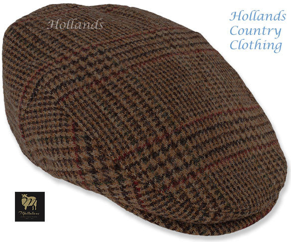 Chapman Brown Tweed with Check Flat Cap – Hollands Country Clothing 82d1238677c