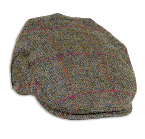 Heather Chapman Shetland Wool Tweed Flat Cap | Brown/Red Check