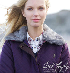 showing faux fur collar for Jack Murphy Charlize Waxed Cotton Jacket