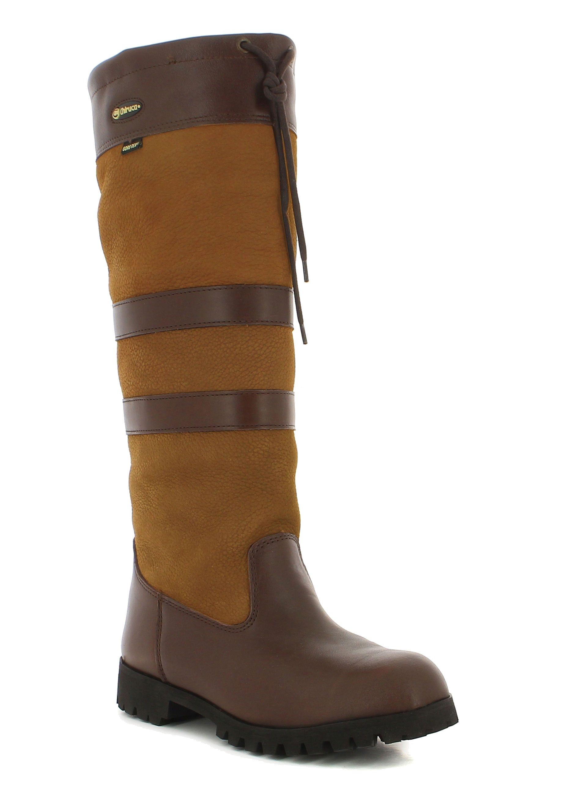 Chelsea Ladies High Leg Leather Boot by Chiruca. Tan colour