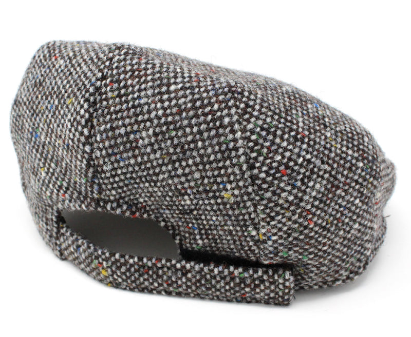 rear view of adjusble band Hanna Children's Tweed Flat Cap | Grey and Brown Salt & Pepper