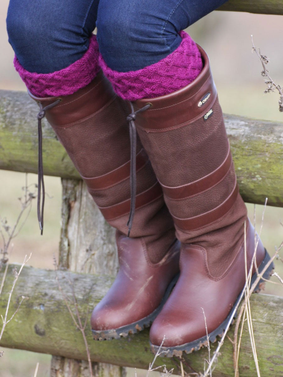 womens long leather waterproof high leg country boots