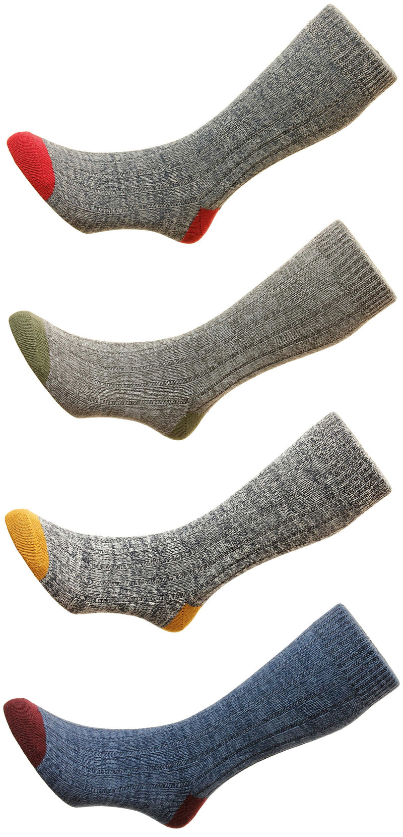 HJ Hall Ramsey Chunky Cotton Sock | Navy Marl Burgundy, Grey Green, Gold Grey, Red Grey,