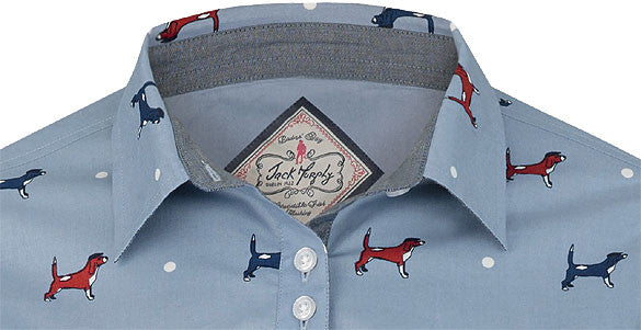 collar detail  for Jack Murphy May Summertime Beagle Dog Print Shirt