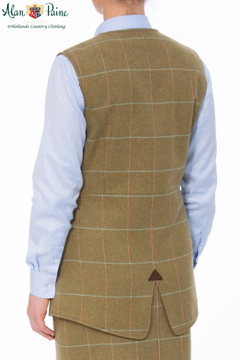 showing rear vent Combrook Meadow Tweed Tailored Waistcoat by Alan Paine