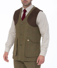 sage tweed Combrook Men's Shooting Waistcoat by Alan Paine