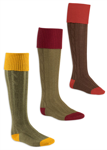 wool Contrast Heel & Toe Shooting Sock by Alan Paine