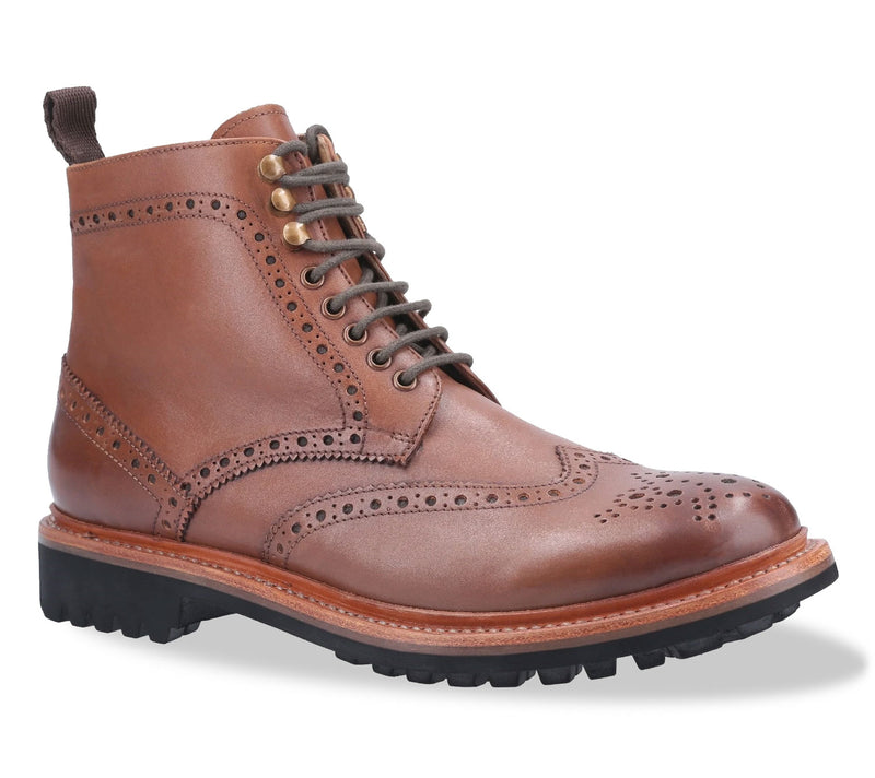Rissington Goodyear Welt Commando Brogue Lace Up Derby Boot