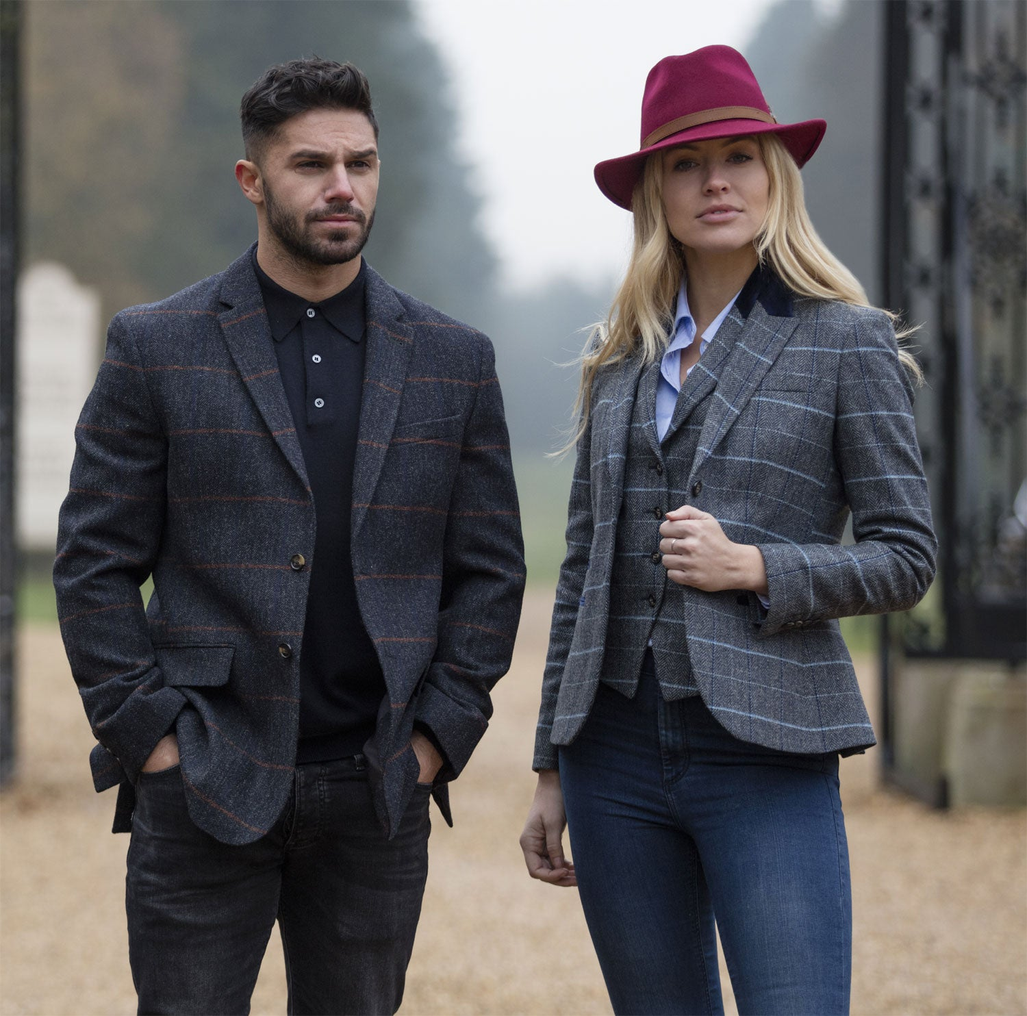 Lady and Gentleman in Alan paine Surrey tweed wear
