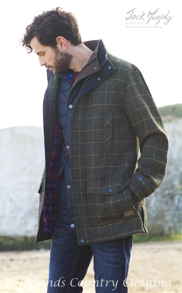 showing length of Jack Murphy Colman Tweed Coat in navy and country green for men