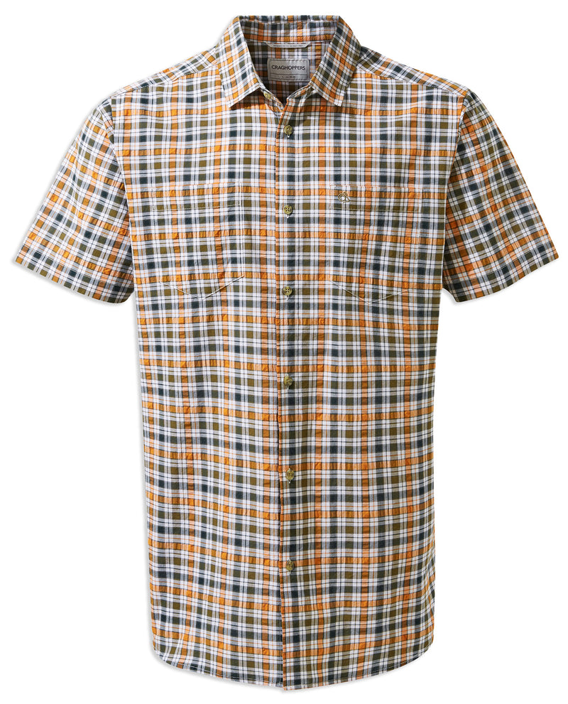 Terracotta Check Craghoppers Giovanni Short Sleeved Shirt
