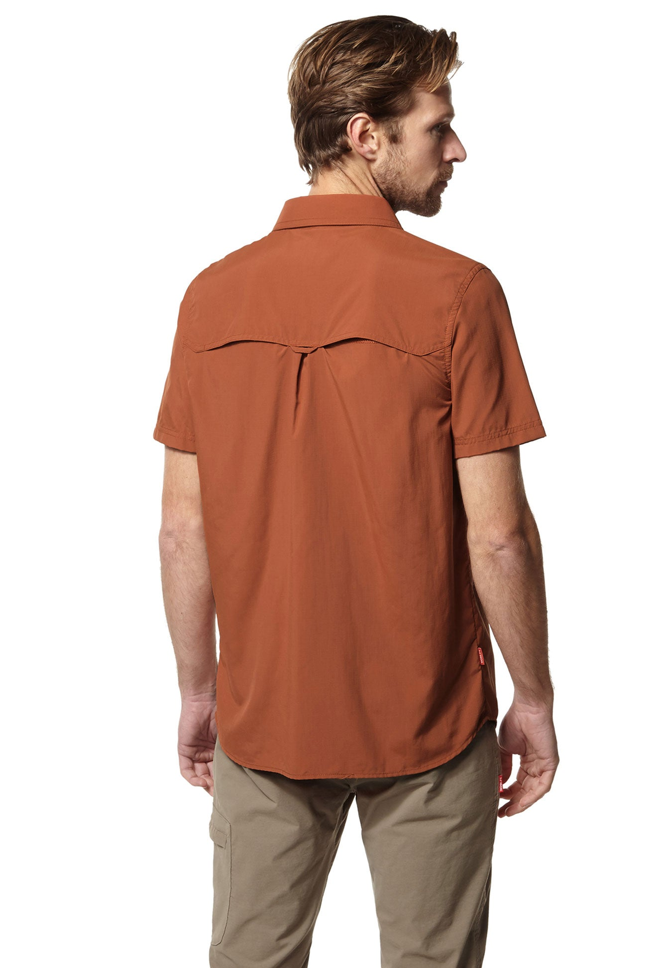 rear view Burnt whiskey Craghoppers NosiLife Adventure Shirt II Short Sleeved