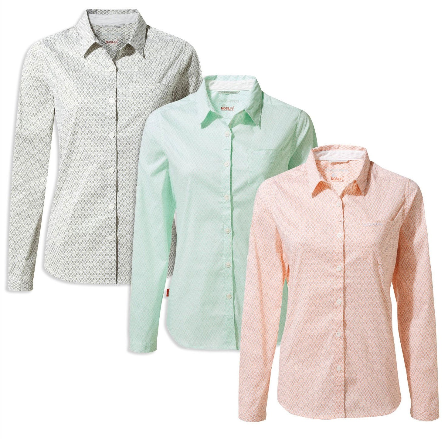 Craghoppers NosiLife Verona Long Sleeve Shirt - Pink Green and Blue