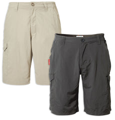 Craghoppers NosiLife Cargo II Shorts in Desert Sand and Black Pepper