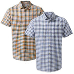 Craghoppers Giovanni Short Sleeved Shirt in Terracotta and Ocean Blue Check