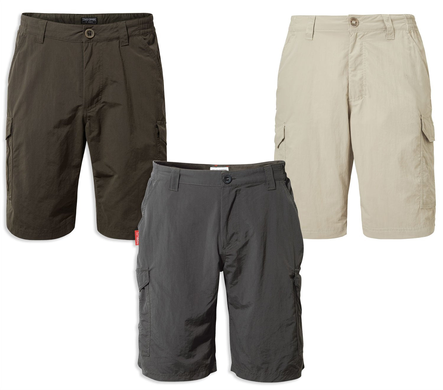 Craghoppers NosiLife Cargo II Shorts | Sand, Woodland Green , Black Pepper