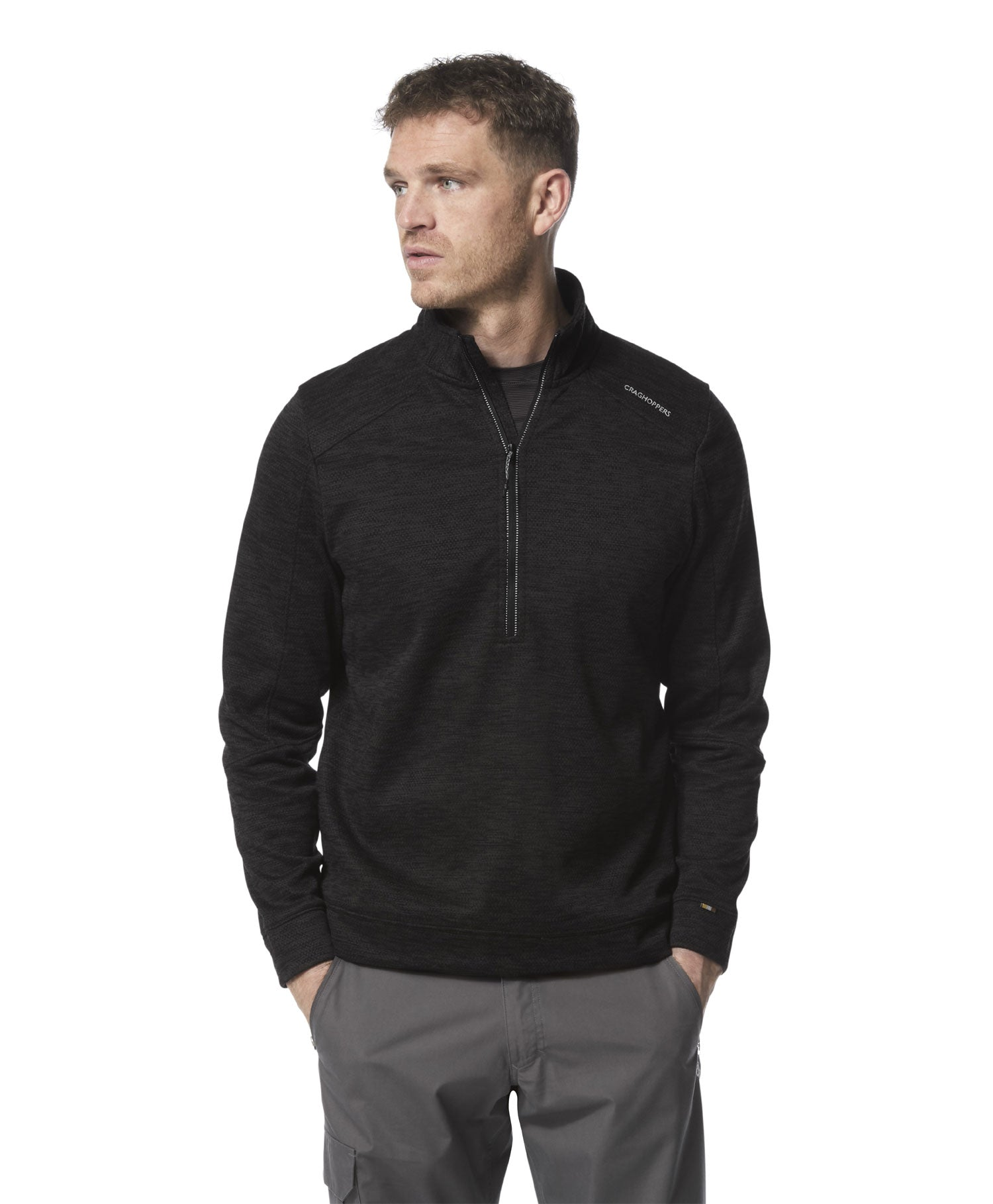 Man wearing Craghoppers Strata Half Zip Fleece