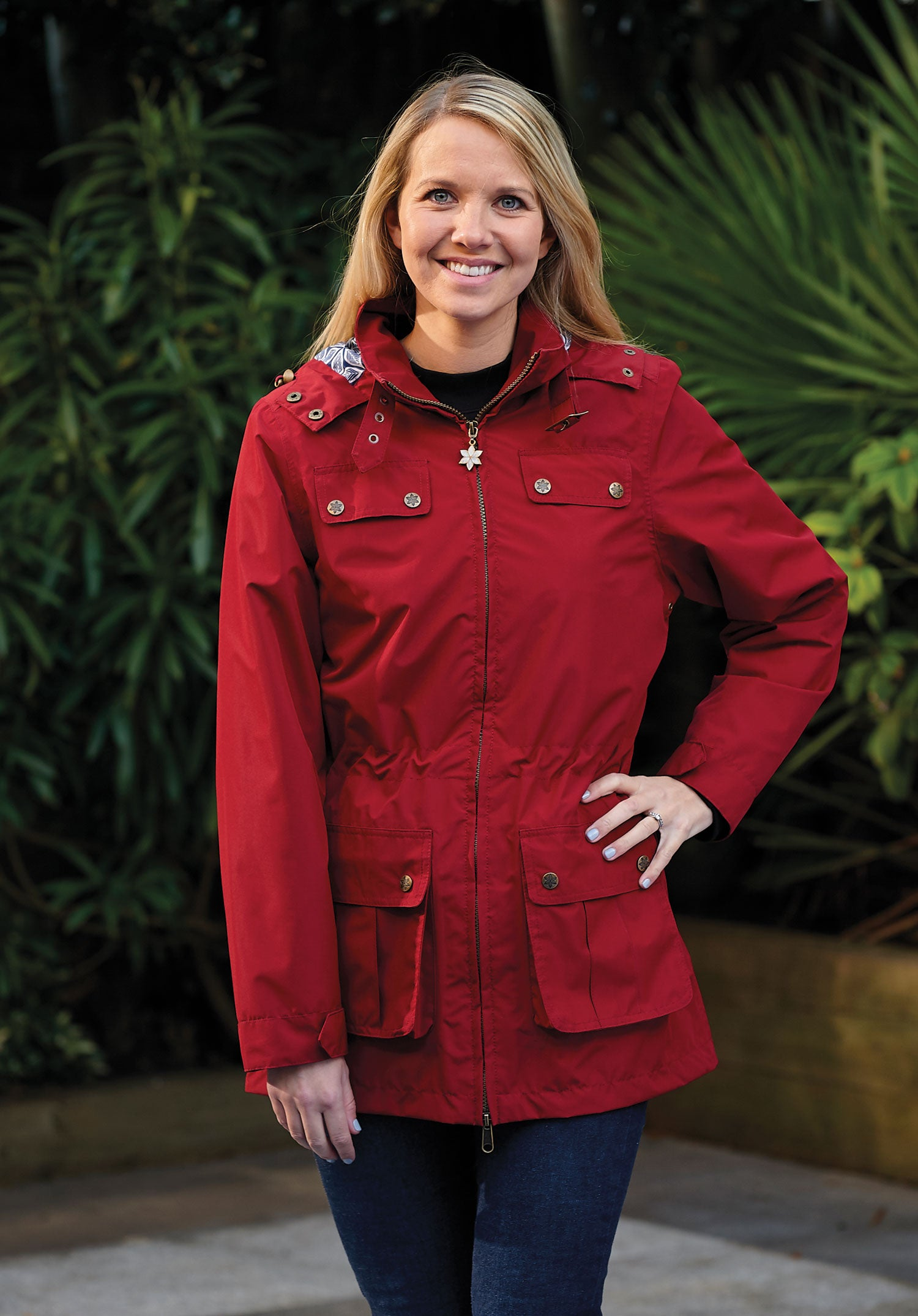 lady wearing ruby Cromer Ladies Summer Parka by Champion Country Estate