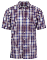 Red and navy Champion Croyde All Cotton Short Sleeve Shirt