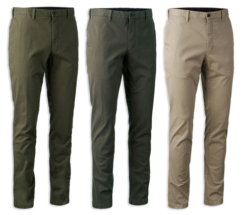 Chino Casual Trousers by Deerhunter  Green Brown and Sand