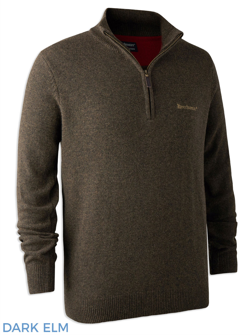 Dark Elm Deerhunter Lambswool Zip Neck Sweater