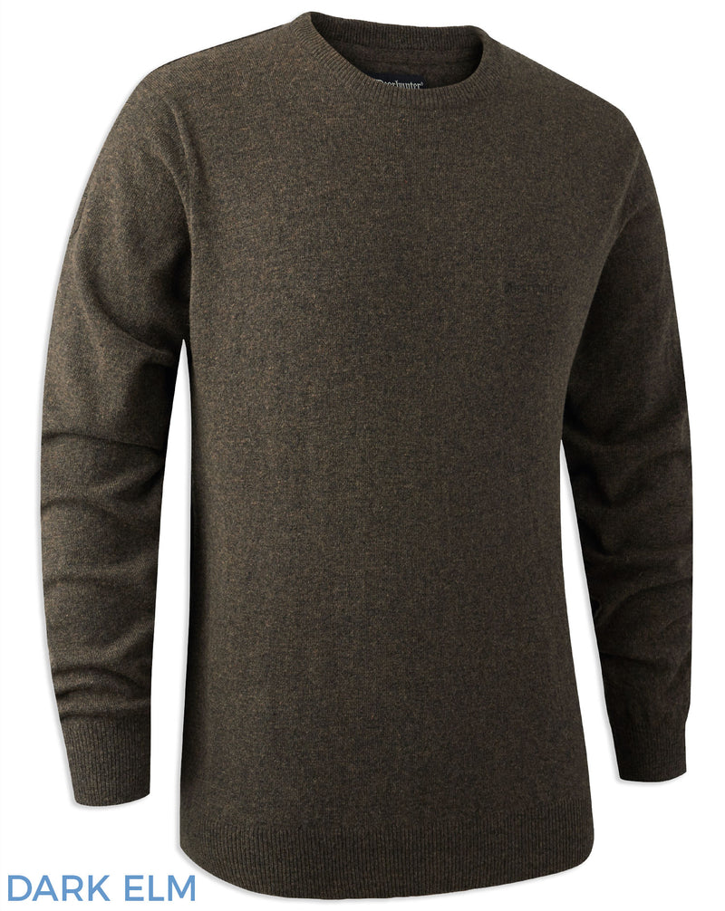 Dark Elm Deerhunter Brighton Lambswool Knit O-Neck Jumper