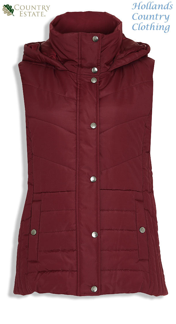 in red Champion Danehill Ladies Hooded Gilet