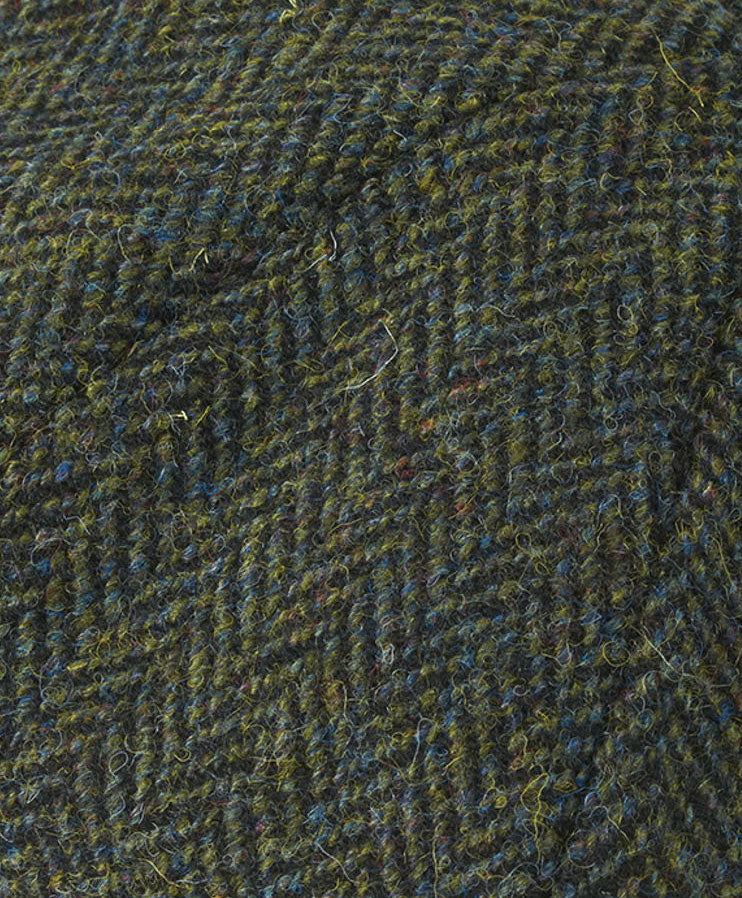 dark green harris tweed with herringbone pattern