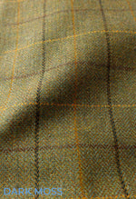 Dark Moss Green Tweed with colourful check
