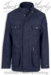 Jack Murphy Davin Tweed Jacket in navy herringbone