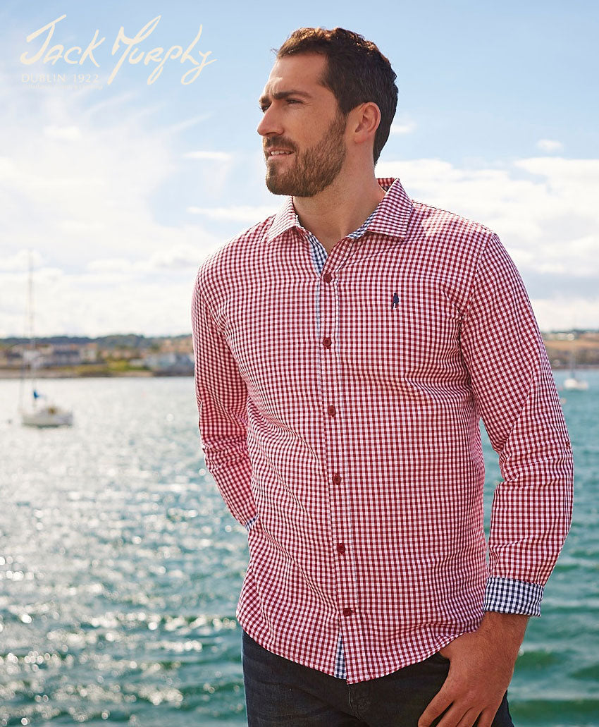 man at the beach Jack Murphy Davis in Gingham Check