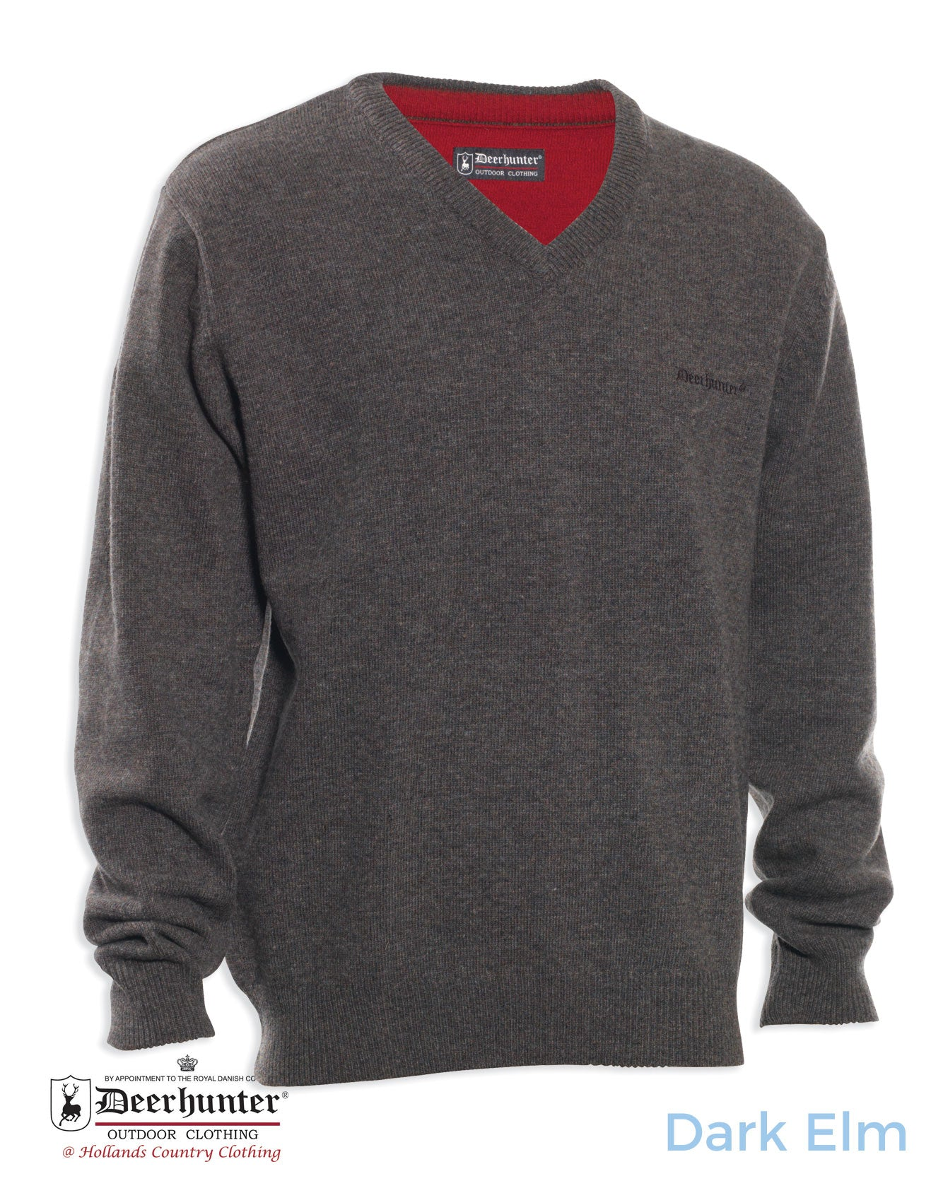 Deerhunter Hastings Knit Vee-neck Sweater dark elm colour
