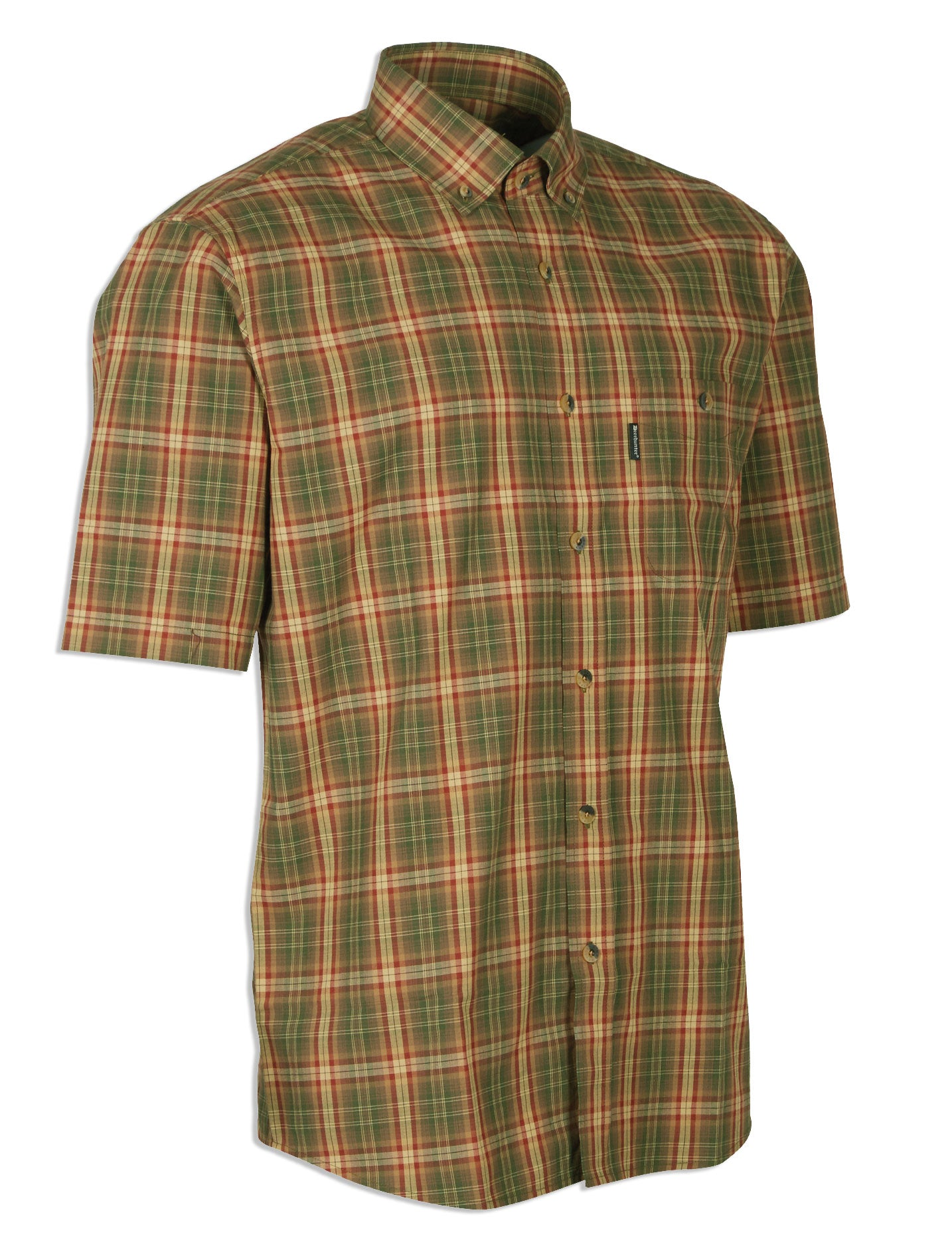 Deerhunter mitchell short sleeve shirt in red green check