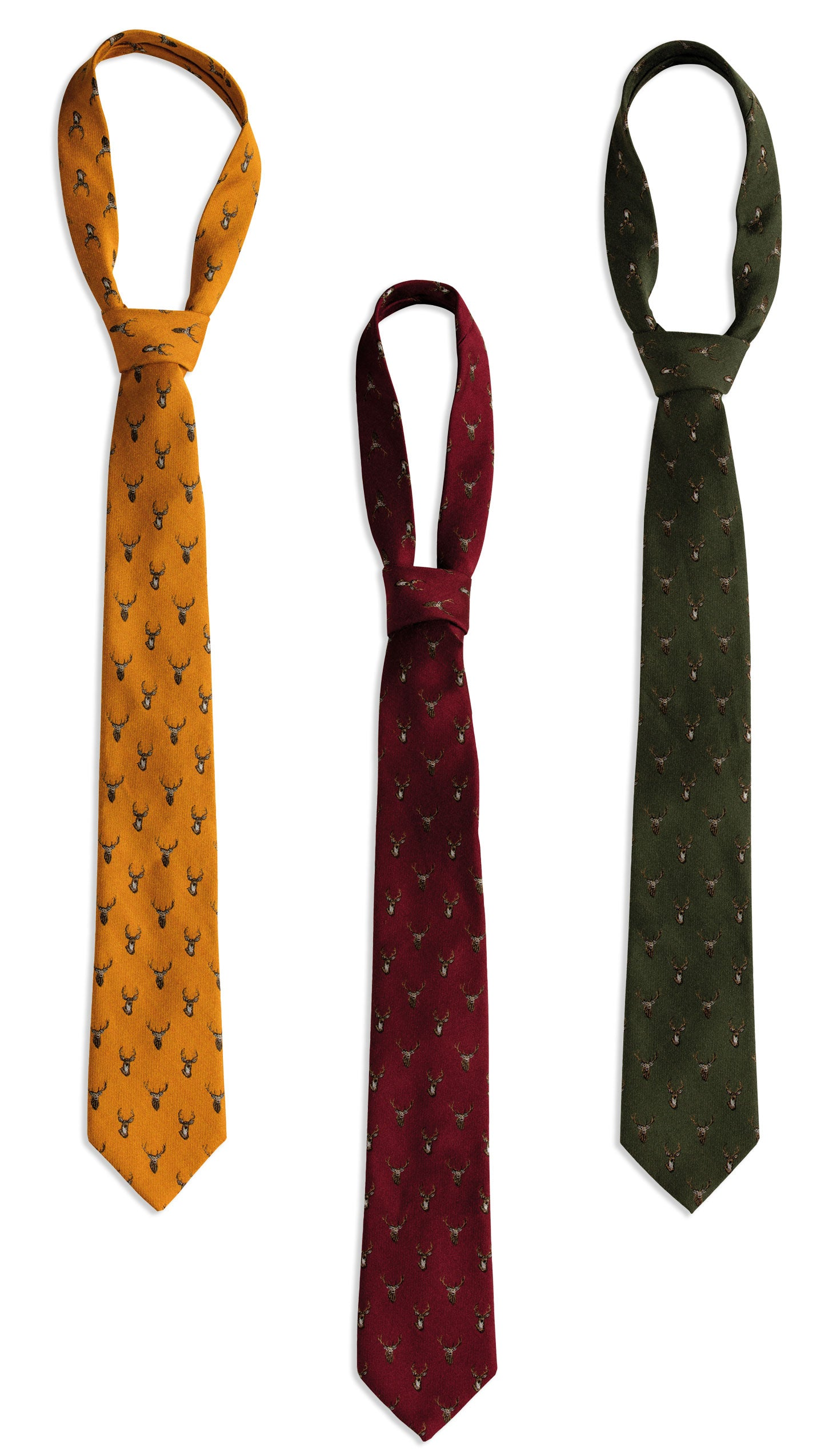 Deerhunter Stag Silk/Wool Tie in three colours