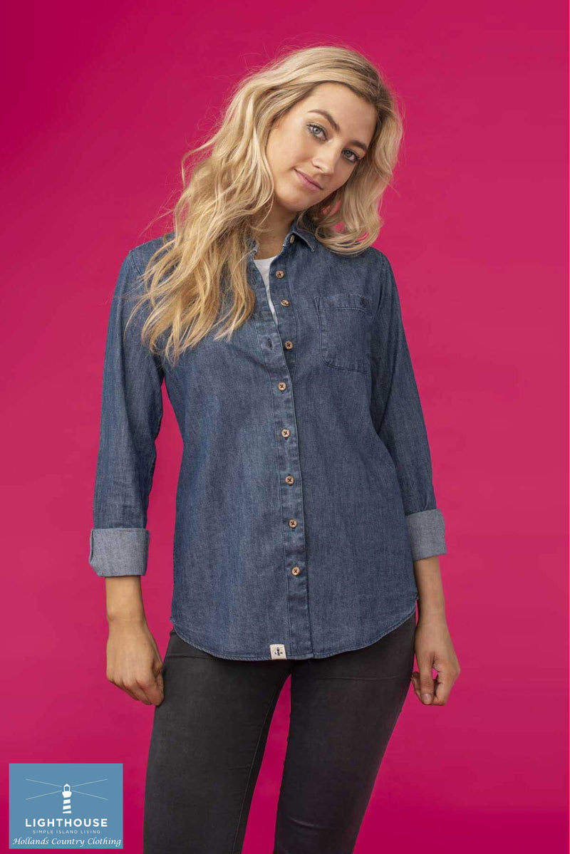 grunge style Ocean Ladies Washed Denim Shirt by Lighthouse