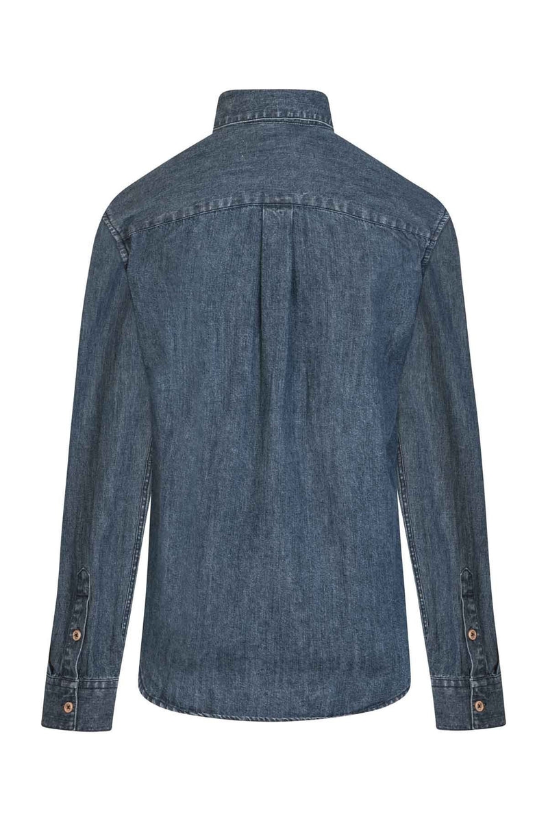 reaer view Ocean Ladies Washed Denim Shirt by Lighthouse