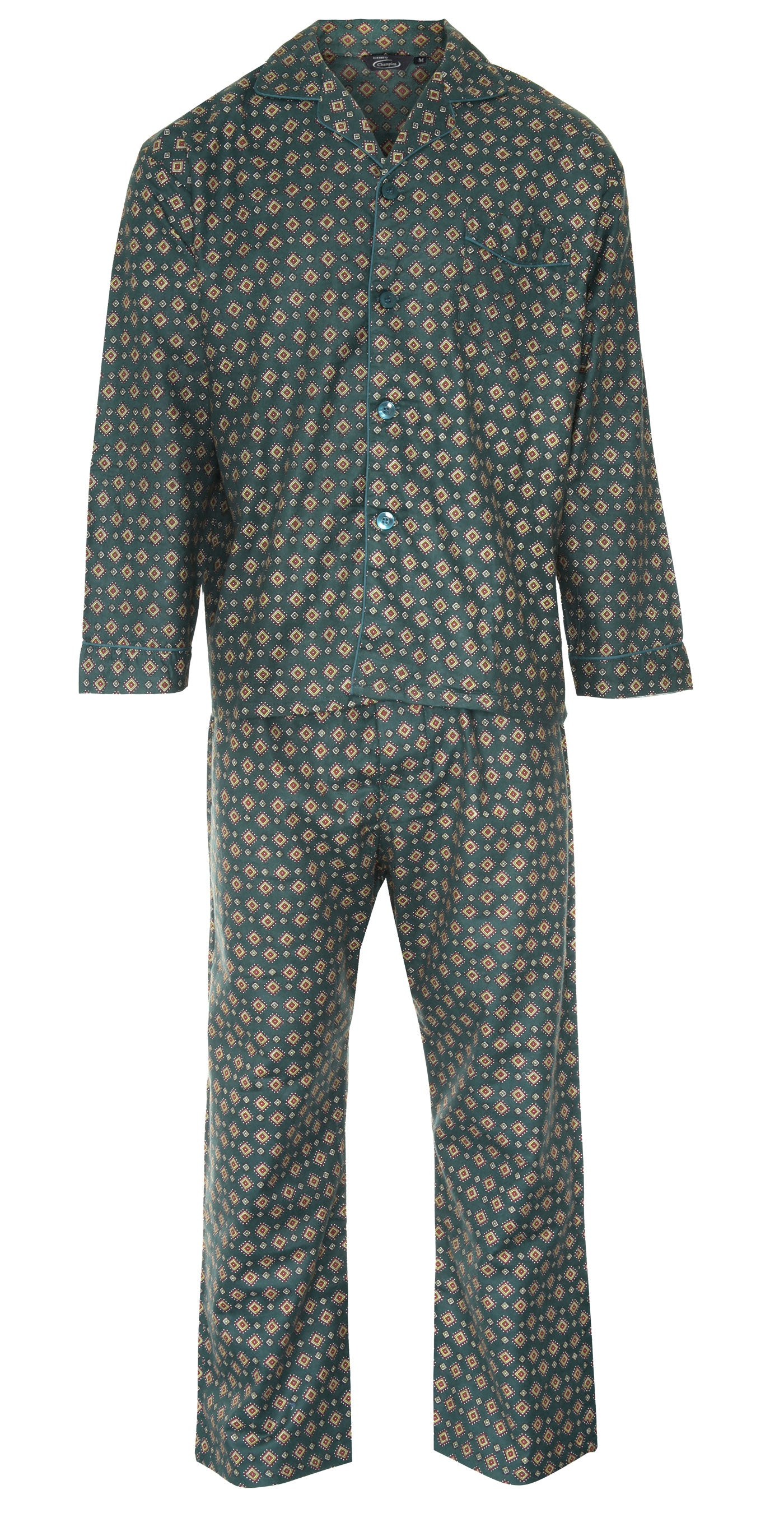 froent green pair of pyjamas by champion blue sea pyjamas all pure cotton
