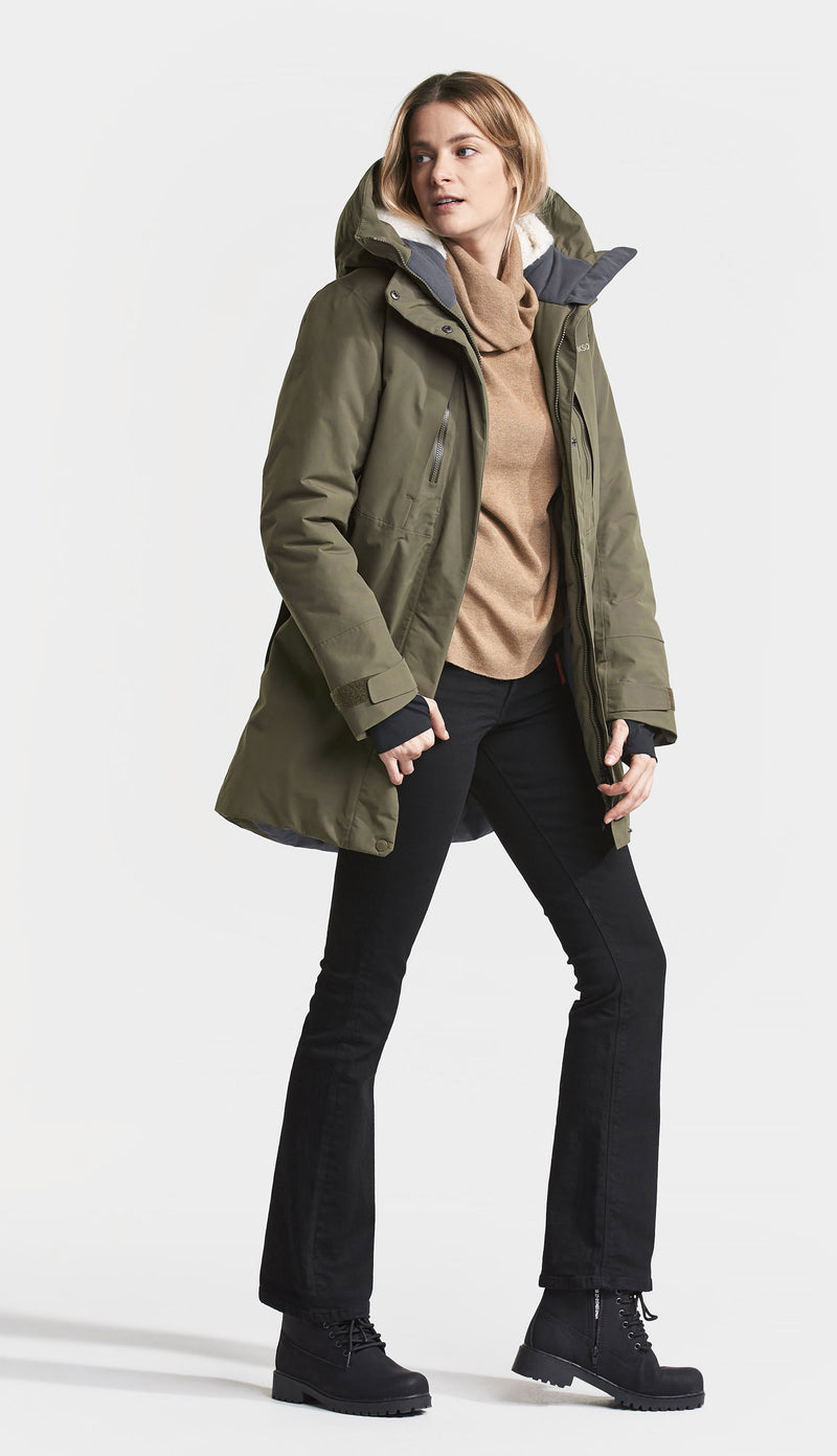 Crocodile Green Didriksons Silje Padded Waterproof Parka
