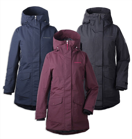 Didriksons Frida II Padded Waterproof Parka. in Black red wine and navy