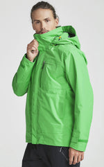 zipped up chin didrikson mens waterproof jacket lime green hooded