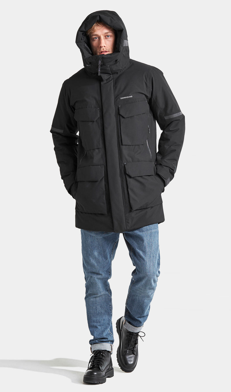 Black Padded winter parka with hood up