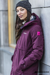 wine red women's waterproof Parka by Didriksons - Scandinavia's leading outdoor clothing specialists is a stylish 3/4 length