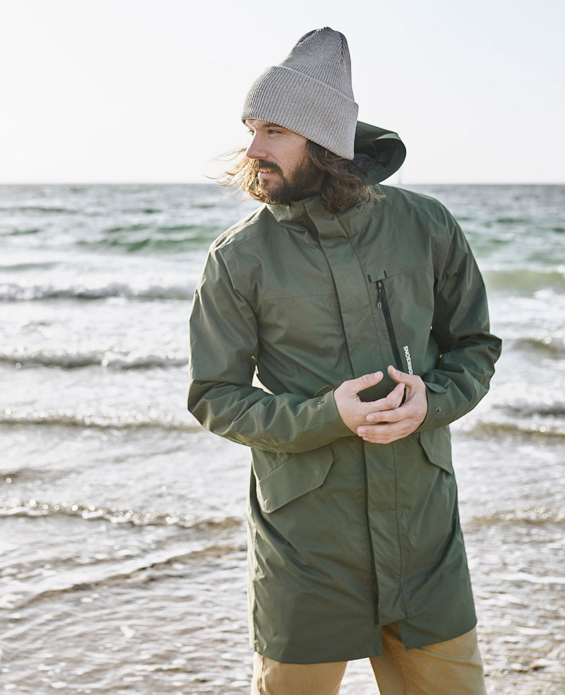 Swedish parlka coat worn at the beach