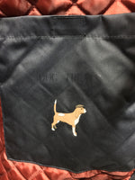 dog treat pcoket with beagle in a cap logo