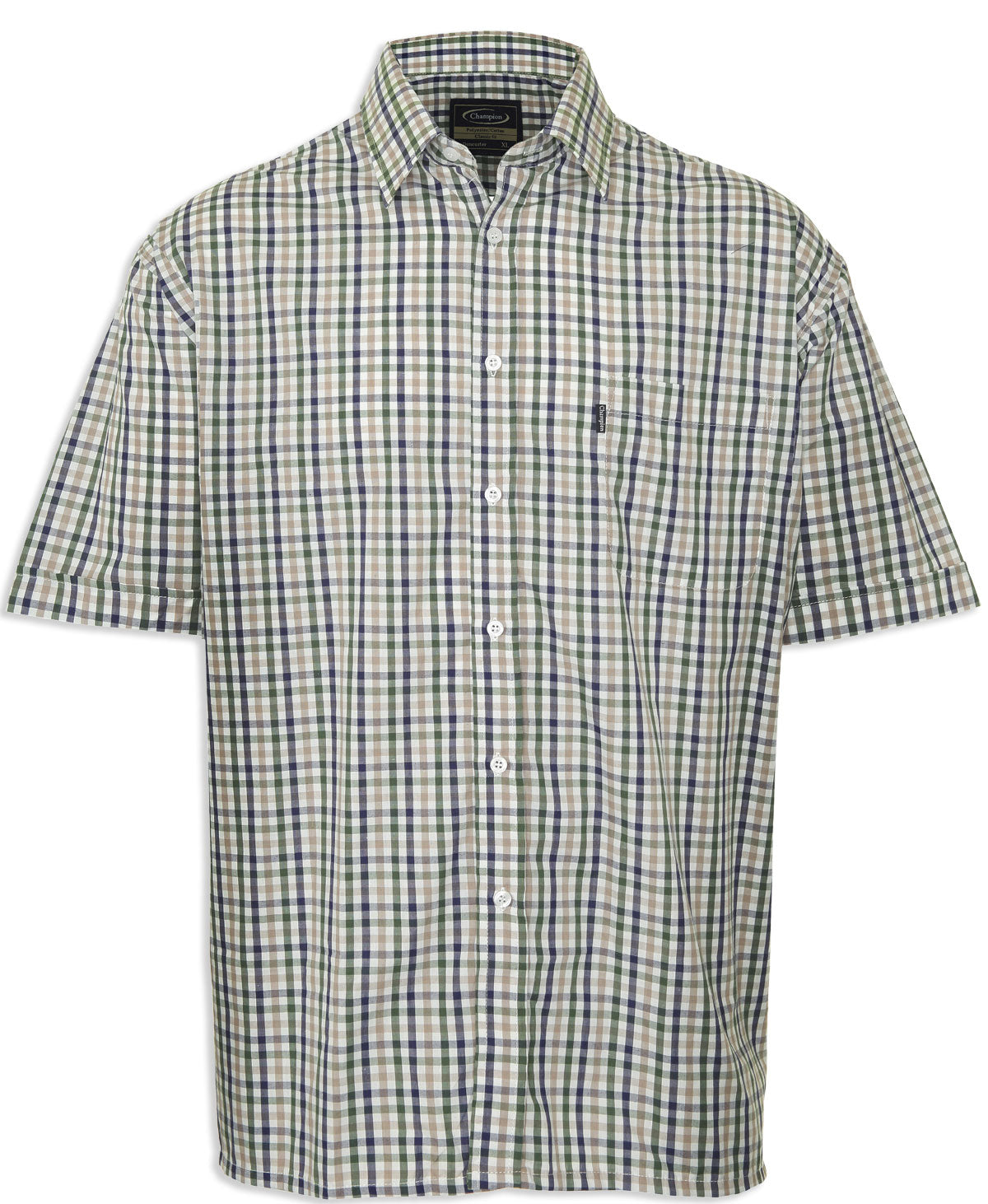 green farmer's short sleeved shirt