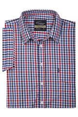 close up red blue check Champion Doncaster Short Sleeved Shirt